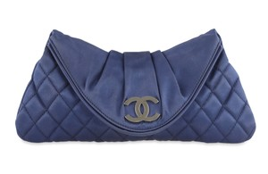 Chanel Satin Blue Clutch