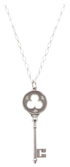 Tiffany Co Silver 18 K White Gold Keys Clover Key Pendant Necklace Tradesy