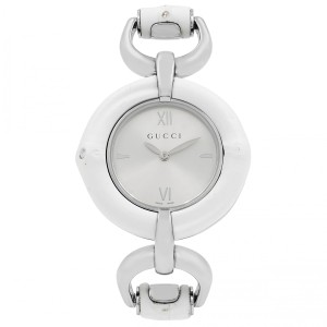 Gucci GUCCI Silver Dial White Bamboo Stainless Steel Ladies Watch 1120