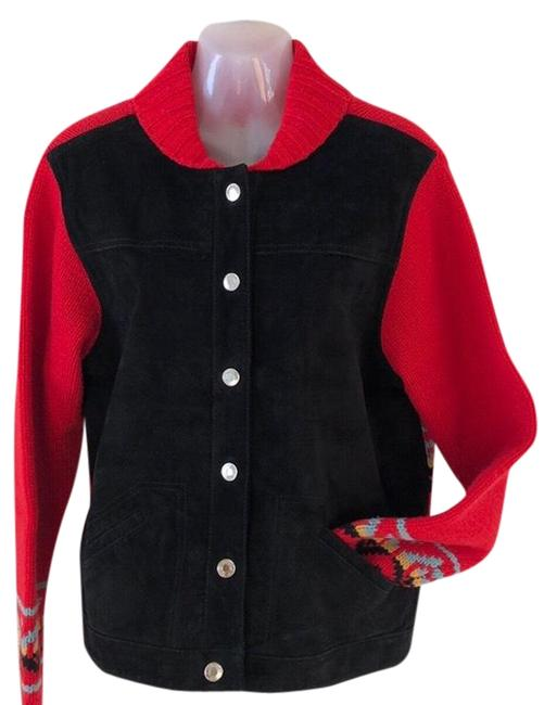 Item - Red Black Suede/Wool Button Front Jacket Size 8 (M)