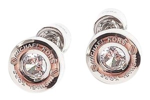 Michael Kors New Michael Kors Silver Tone Logo Stud Cubic Zironcia with Dust Cover