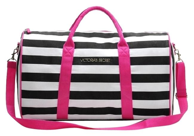 Item - New Black & White Stripes with Detachable Strap Nylon Weekend/Travel Bag