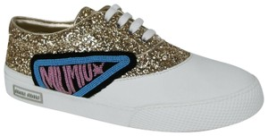 Miu Miu Women's Glitter/White Rubber Sneaker Gold Glitter/White Athletic