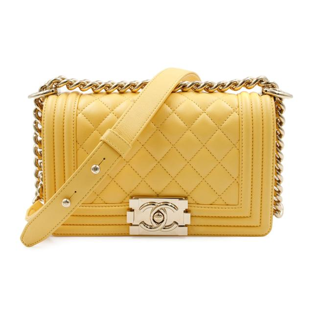 Item - Boy Classic Flap Quilted Yellow Lambskin Leather Cross Body Bag