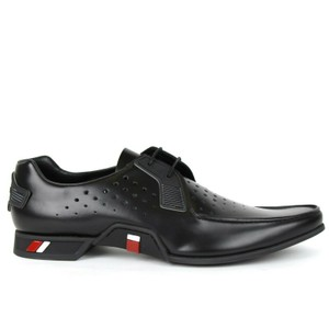 Prada Black Men's Perforated Leather Oxford Uk 11 / Us 12 2eg250 Shoes