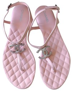 Chanel Mules Flats Thong Slide Pink Sandals