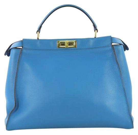 monster-peekaboo-with-studded-interior-large-blue-leather-shoulder-bag by fendi