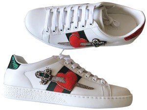 8f5e216ea Gucci Trainer Falacer Crystal Vernice Sneaker White Green Red Athletic