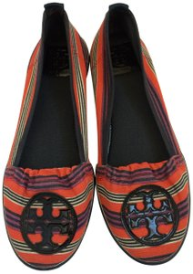 Tory Burch Striped Canvas red,blue,red orange Flats