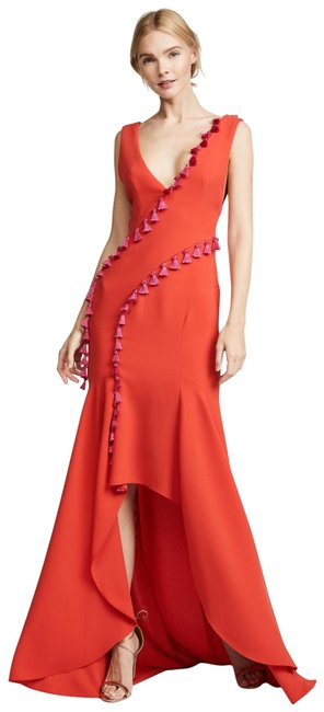 Item - Red Bias Cut Open Back Long Night Out Dress Size 4 (S)