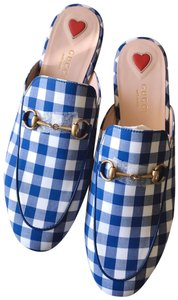 Gucci Loafers Princetown Gingham Slipper Blue White Mules