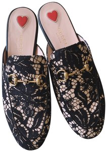 Gucci Loafers Princetown Lace Pirncetown Slipper Black Rose Mules