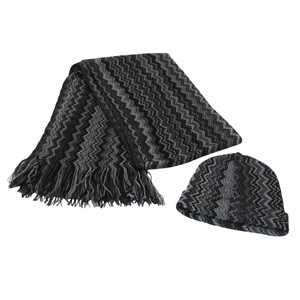 Missoni Wool and Acrylic Striped Fringe Shawl Scarf and Beanie Hat Set
