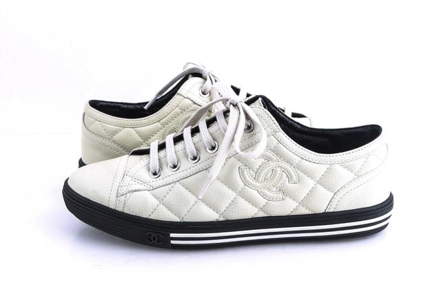 Item - White Off-white Cc Logo Caviar Leather Quilted Sneakers Size US 6 Regular (M, B)
