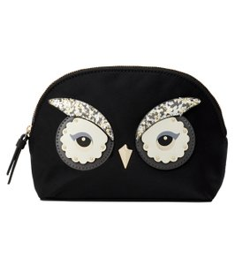 Kate Spade NWT KATE SPADE BLACK STAR BRIGHT OWL SMALL MARCY COSMETIC BAG CLUTCH