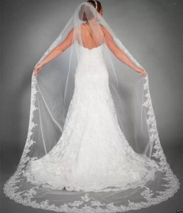 Unbranded Long White Or Ivory Cathedral Lace Edge 3m/10 Ft 1t with Comb Bridal Veil
