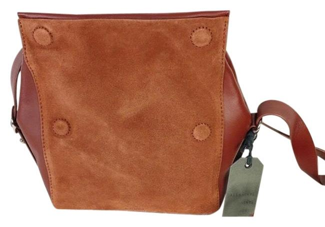 Item - Maya Suede Cognac Fold Over Magnetic Ruffle Strap Sienna Brown Leather Cross Body Bag