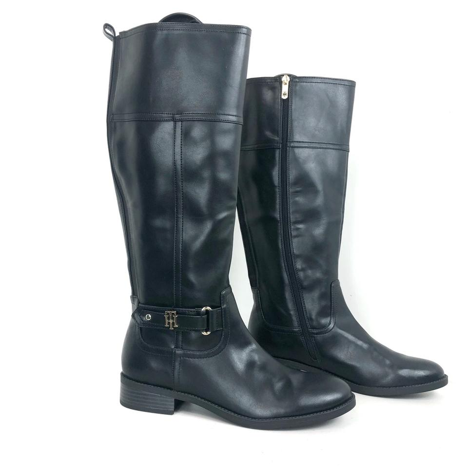 Black Knee High Boots Booties Tommy Hilfiger Cowboy Boots Shoes