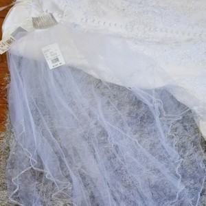 David's Bridal White Medium 2 Tiered with Beaded Stitched Edge Bridal Veil