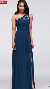 David's Bridal Navy Blue (Marine) Lace Long One Shoulder Style# F17063 Traditional Bridesmaid/Mob Dress Size 8 (M)
