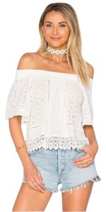 Lovers + Friends Lace Eyelet Romantic Revolve Shopbop Top Ivory