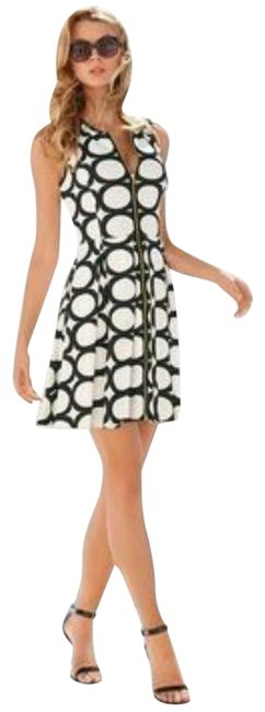Item - Black White New Oval Geo Print Zip Front Short Casual Dress Size 6 (S)