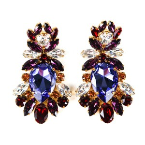 Dolce&Gabbana Large Earrings Rhinestone Clip On Purple Red Gold Silver