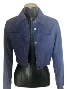 Chanel Cropped Button Denim Blue Womens Jean Jacket