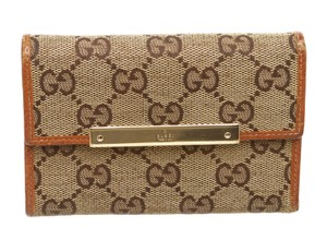 Gucci Gucci Beige Brown GG Canvas Leather Wallet