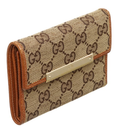 Gucci Gucci Beige Brown GG Canvas Leather Wallet Image 1