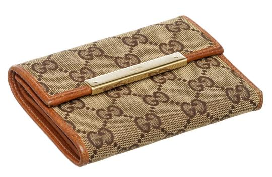 Gucci Gucci Beige Brown GG Canvas Leather Wallet Image 2