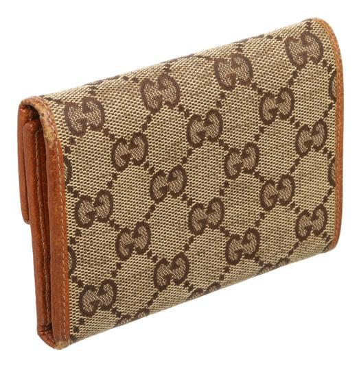 Gucci Gucci Beige Brown GG Canvas Leather Wallet Image 3