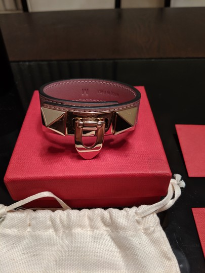 Valentino Small Leather Rockstud Flip-Lock Bracelet Image 3