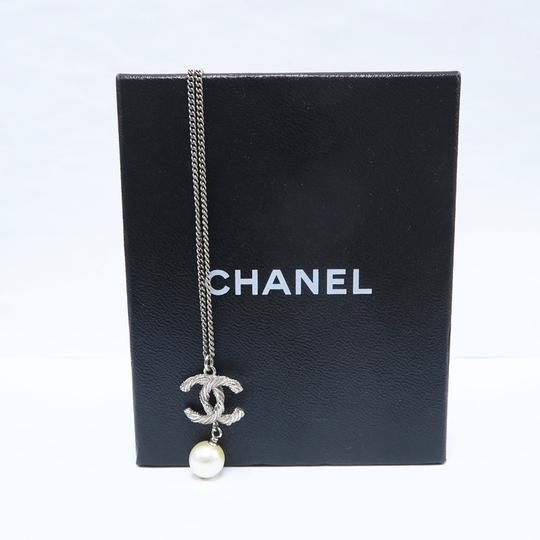 Chanel Silver Pearl with Cc Logo Pendant Necklace Image 1