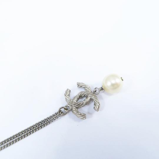 Chanel Silver Pearl with Cc Logo Pendant Necklace Image 2