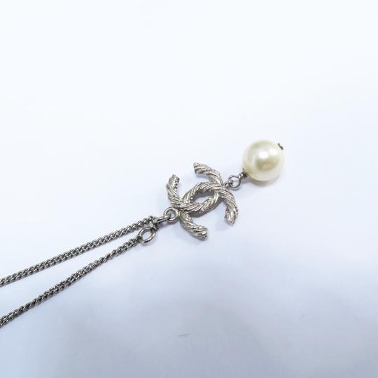 Chanel Silver Pearl with Cc Logo Pendant Necklace Image 5