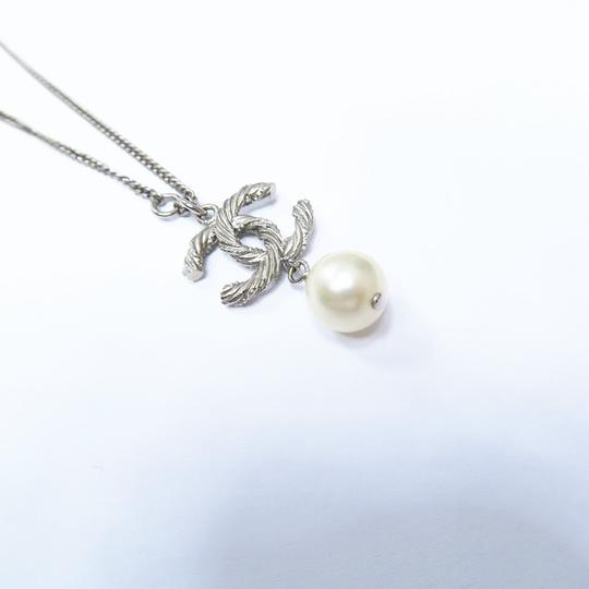Chanel Silver Pearl with Cc Logo Pendant Necklace Image 7