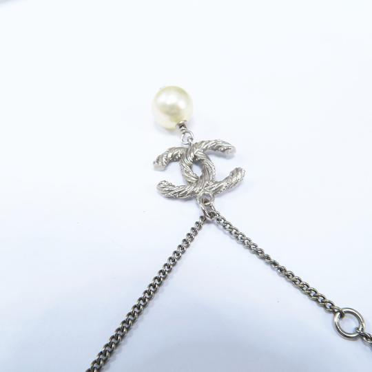 Chanel Silver Pearl with Cc Logo Pendant Necklace Image 8