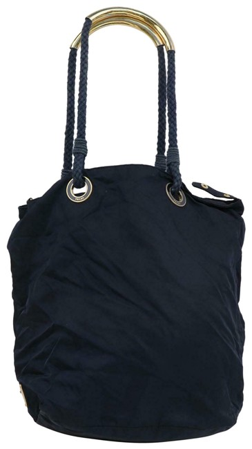 Item - Vitello Daino Bag Top XL Paneled Navy Blue Nylon and Leather with Heavy Gold Handles and Gold and Enamel Accents Tote