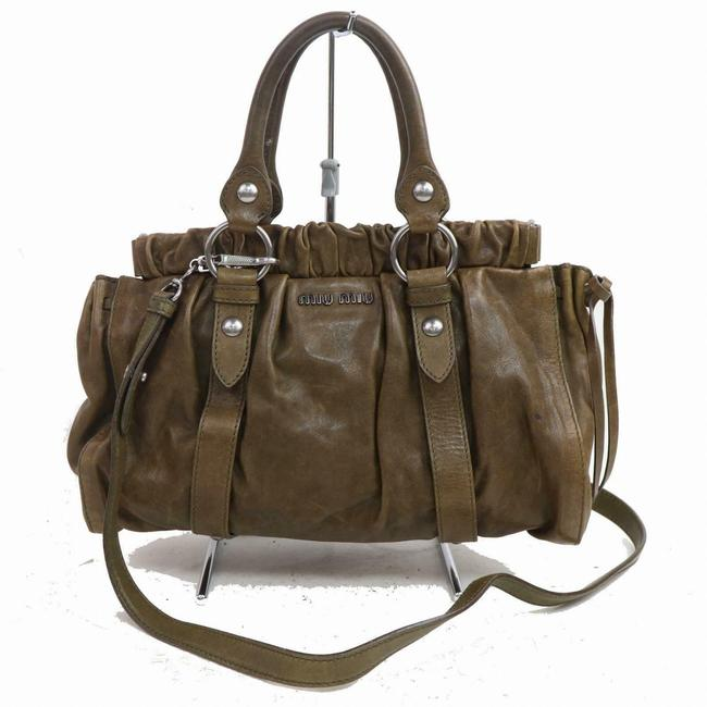 Item - Vitello Lux Two-way Satchel/Cross Body Olive Leather/Chrome Satchel