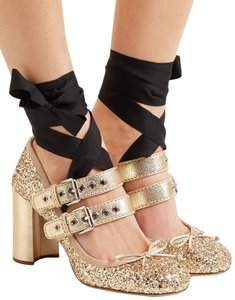 Miu Miu Glitter Ballet Pumps Gold Formal