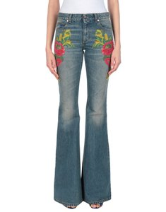 Gucci Italian Designer Bottoms Flare Leg Jeans-Light Wash