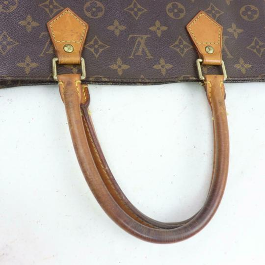 Louis Vuitton Canvas Leather Monogram Tote in Brown Image 4
