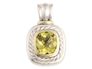 David Yurman YELLOW LEMON CITRINE, 14K GOLD & STERLING SILVER ENHANCER 14MM