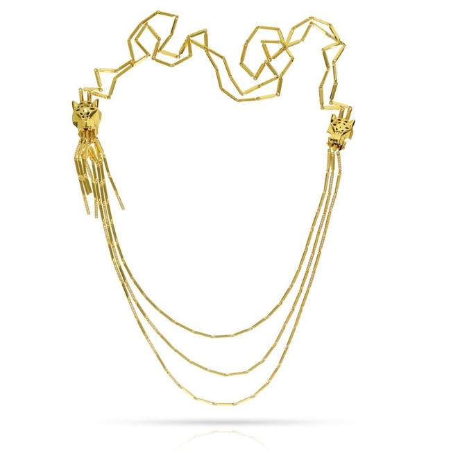 Item - Yellow Gold Double Head Tassel Panthere Strand Drop Vintage Necklace