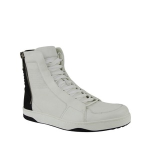Gucci Black / White Zip Up / Suede/Leather Hi Top Sneakers 386743 9072 Shoes