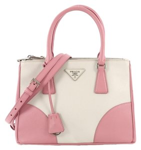 Prada Leather Tote in pink and white