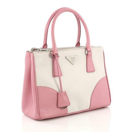 Prada Leather Tote in pink and white Image 2