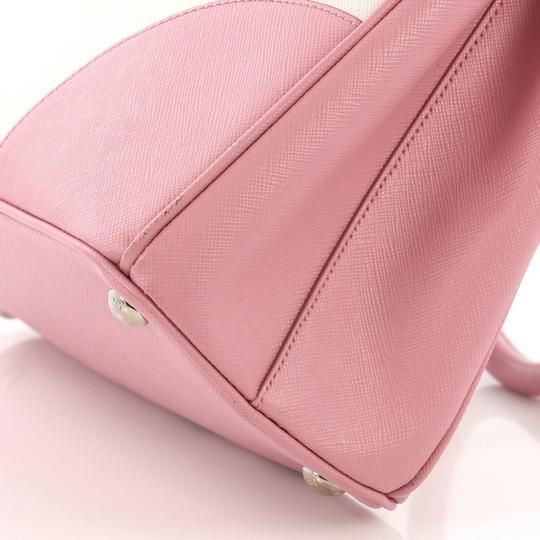 Prada Leather Tote in pink and white Image 8