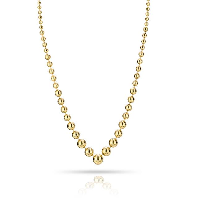 Item - Yellow Gold 18k Ball Bead Link High Polish Chain Necklace